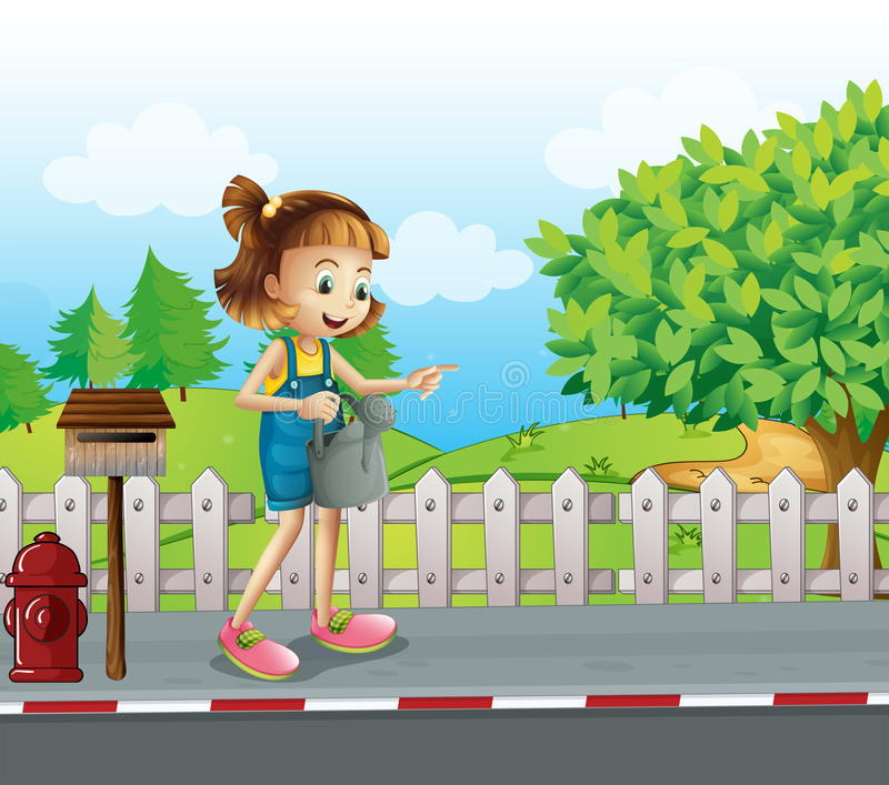 En flicka som går i gatan med en spridare royaltyfri illustrationer