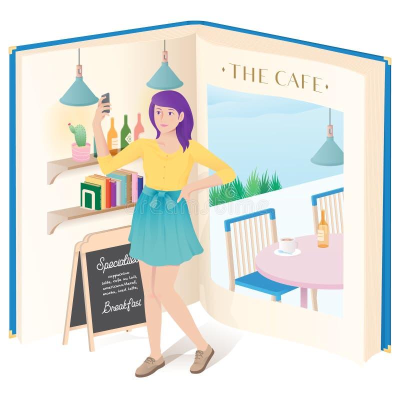 En flicka som gör selfie i kafét stock illustrationer