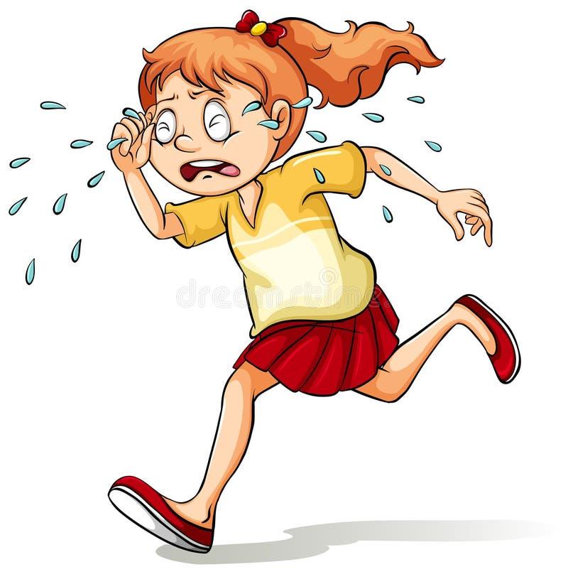 En flicka som gråter en flod royaltyfri illustrationer