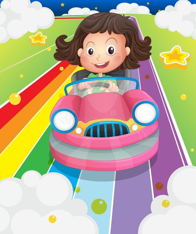 En flicka som kör hennes rosa bil vektor illustrationer