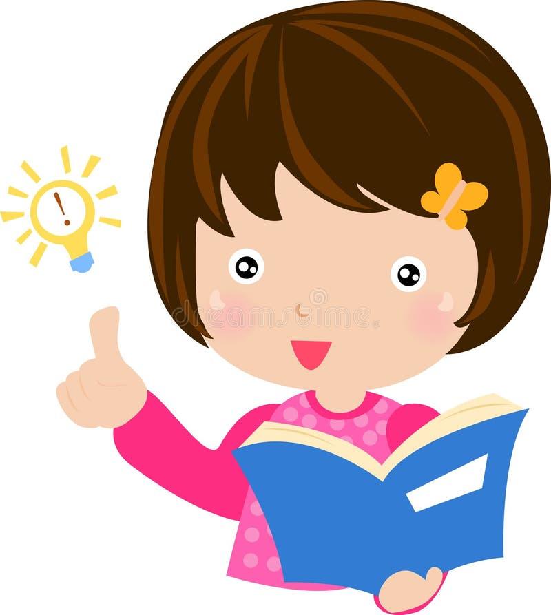 En flicka som läser en bok stock illustrationer