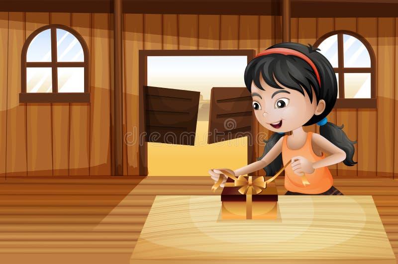 En flicka som packar upp en gåva ovanför tabellen i salongstången stock illustrationer