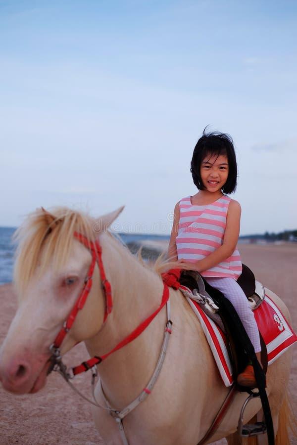 En flicka som rider en vit häst vid stranden royaltyfri fotografi