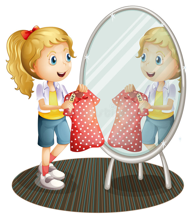 En flicka som rymmer en röd klänning främst av spegeln royaltyfri illustrationer