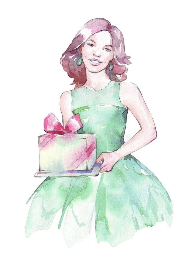 En flicka som rymmer en gåva stock illustrationer