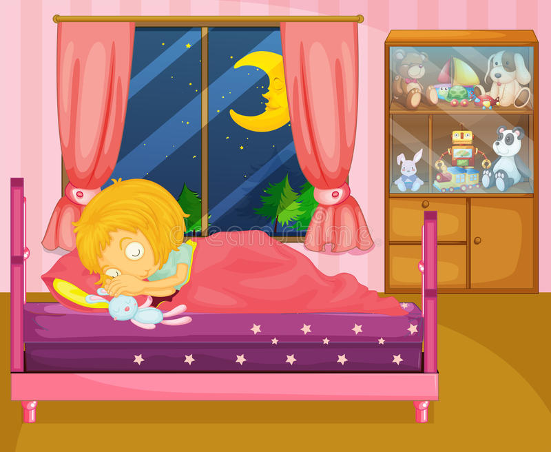 En flicka som soundly sover i hennes rum stock illustrationer