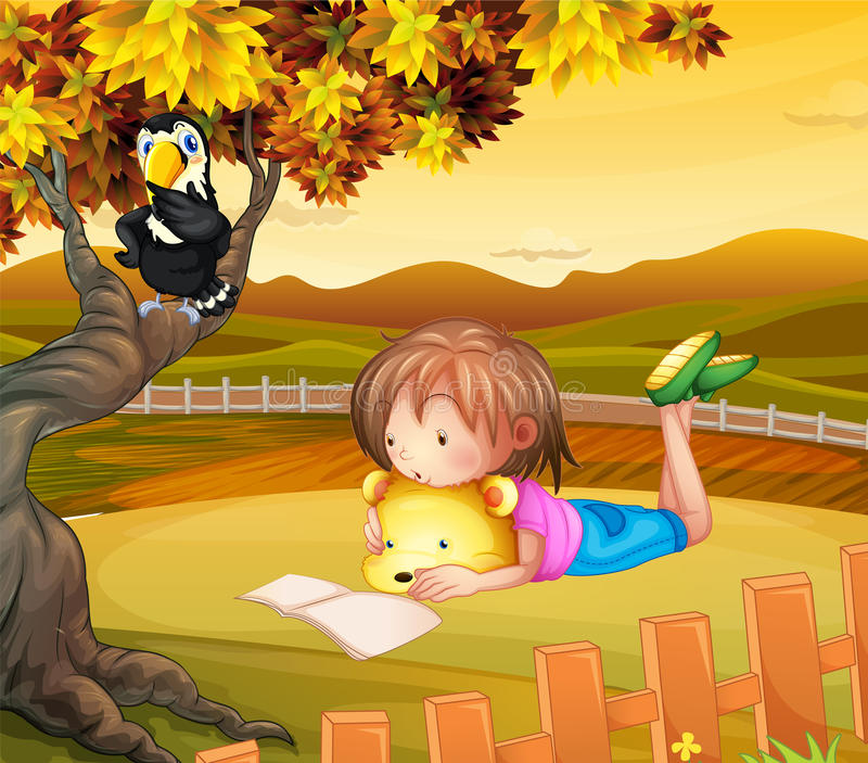 En flicka som utanför studerar stock illustrationer
