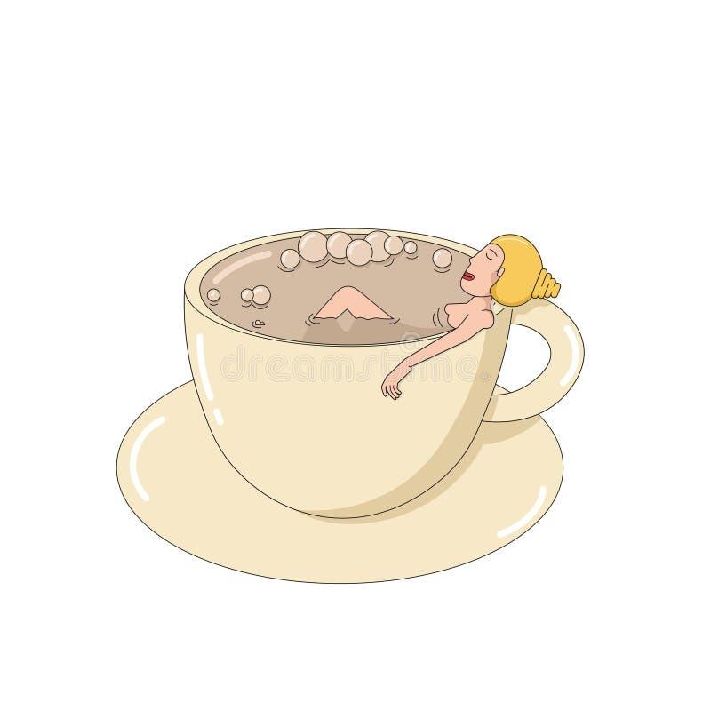 En flicka tar ett bad från kaffet i en kopp royaltyfri foto