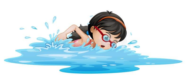 En flickasimning med skyddsglasögon royaltyfri illustrationer