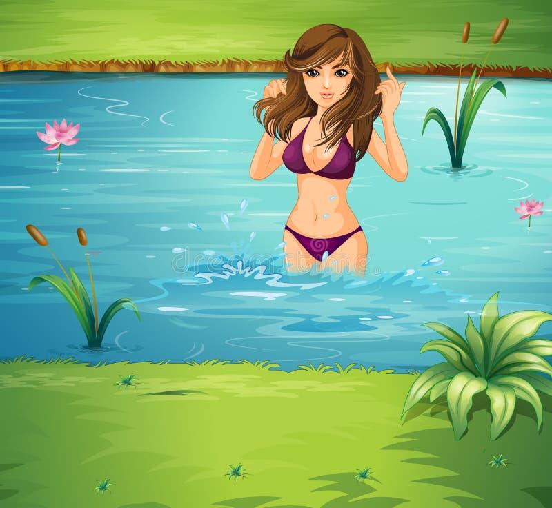 En flickasimning på dammet royaltyfri illustrationer