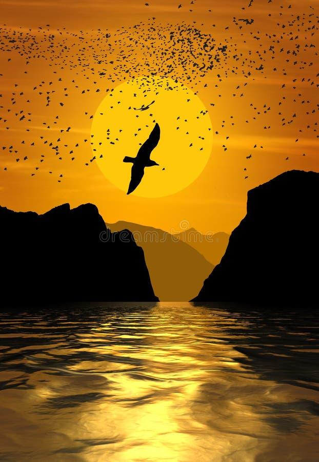 En flock av fåglar som flyger på solnedgången arkivbild