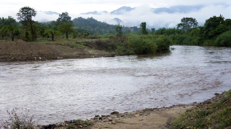 En flod kör från bergnorden av Thailand arkivfoton