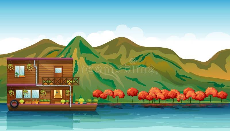 En flod och ett fartyghus vektor illustrationer