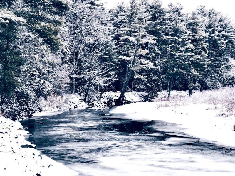 En flod som frysas och täckas med snö arkivfoton