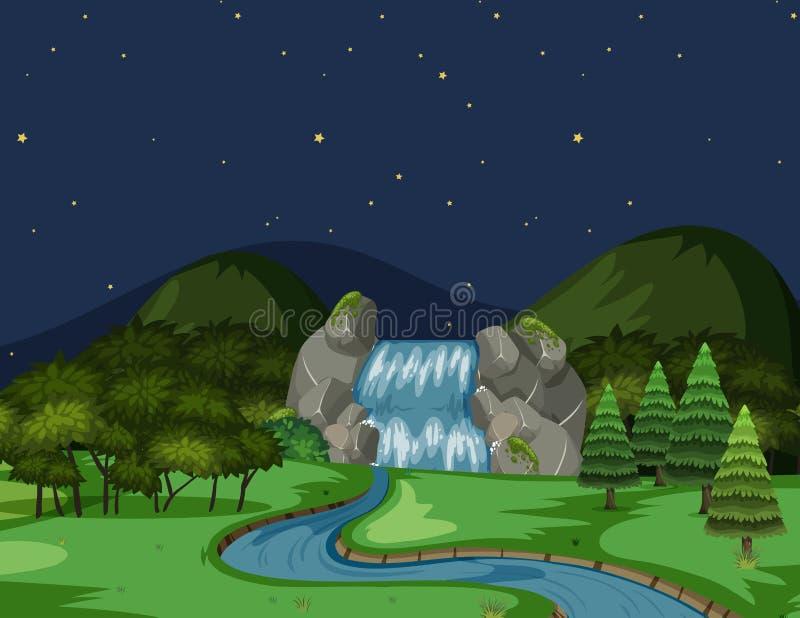 En flodsikt på natten royaltyfri illustrationer