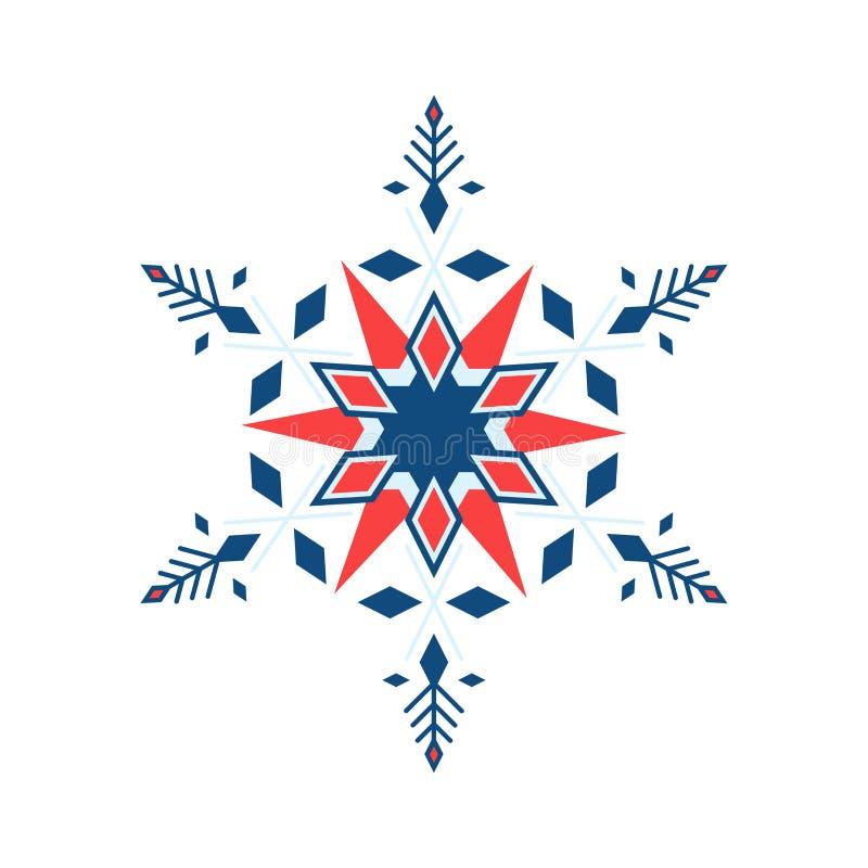 En florid snöflake i geometrisk stil, blå och röd färg isoleras på vit bakgrund stock illustrationer