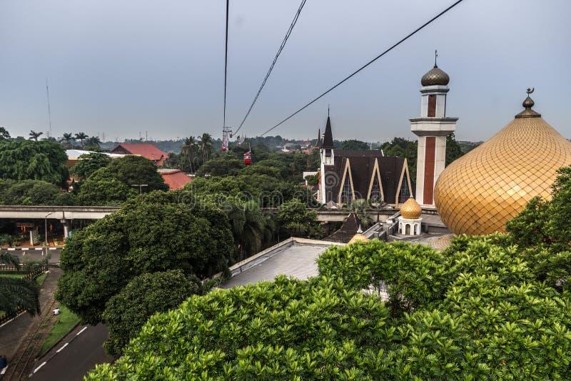 En flyg- sikt av miniatyren av Indonesien, Taman Mini Indonesia Indah, Jakarta Juli 2018 royaltyfri bild