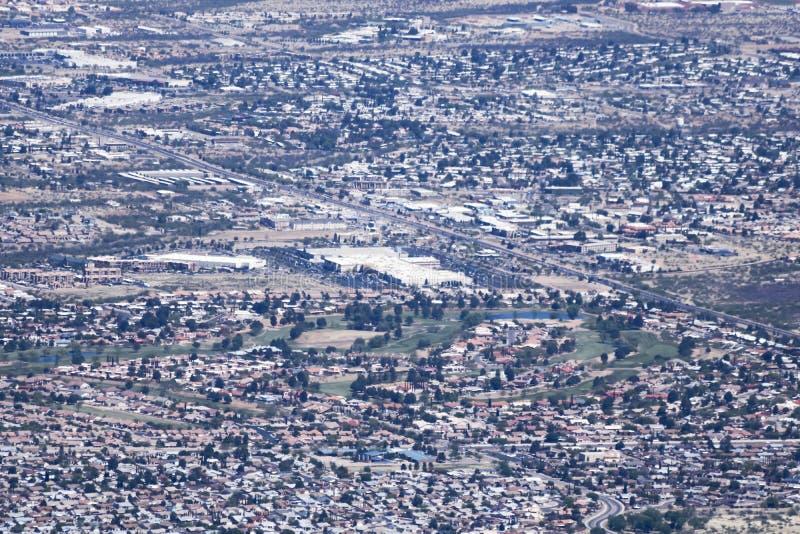 En flyg- sikt av toppiga bergskedjan utsikt, Arizona, från Carr Canyon royaltyfria foton