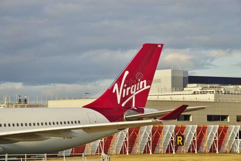 En flygbuss A330 från det brittiska flygbolaget Virgin Atlantic (VS) arkivbild