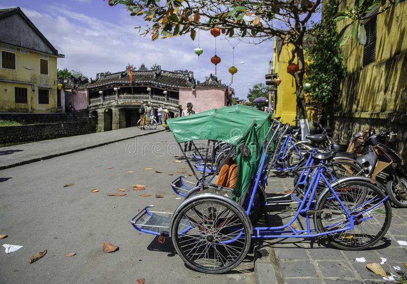 Cyclo rickshaws i hoi-an, vietnam 3 royaltyfria bilder