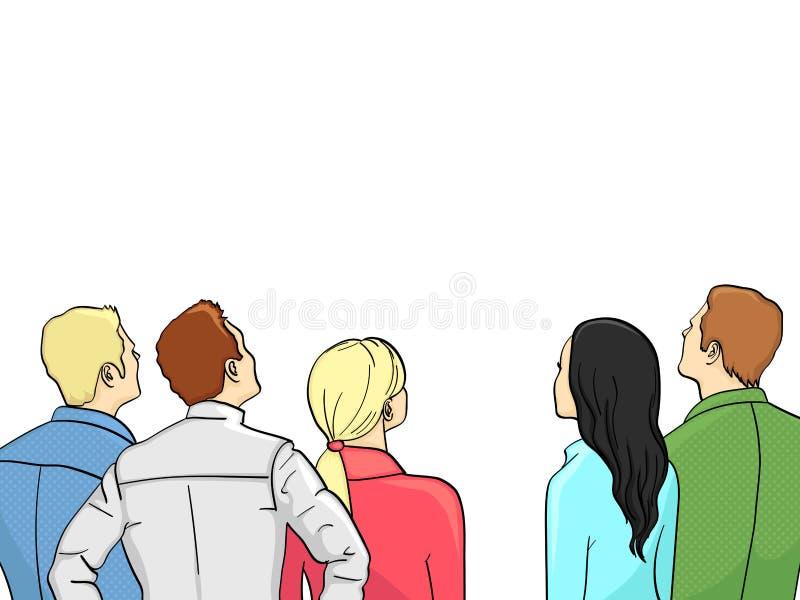 En folkmassa av åskådare står tillbaka Isolerat objekt på vit bakgrund, sommarfärg vektor illustrationer