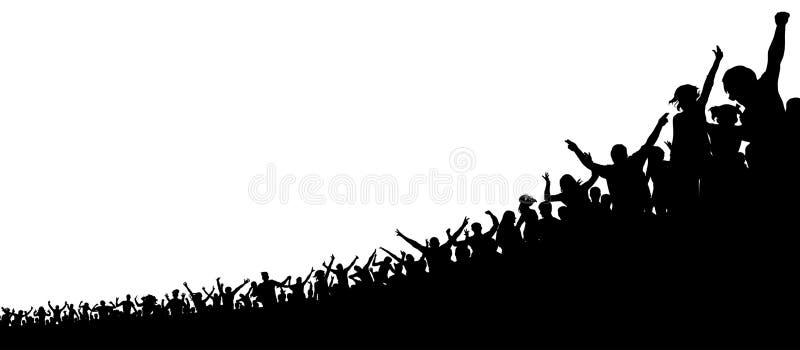 En folkmassa av sportfans En folkmassa av folk i stadion Konturvektor stock illustrationer
