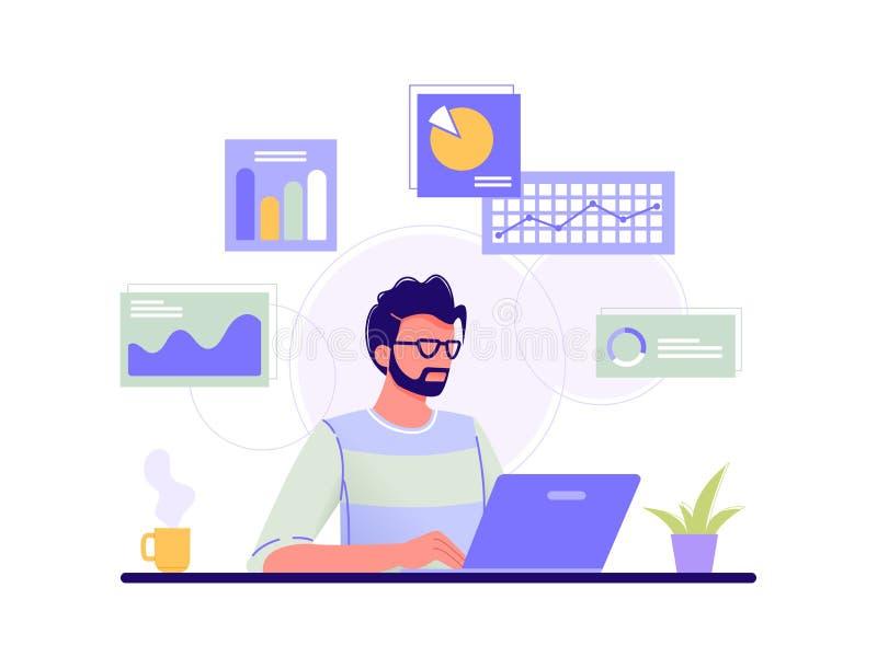 En fondo verde El hombre está trabajando en su ordenador portátil y el infographics en el fondo Azul, verde, amarillo Vector plan libre illustration