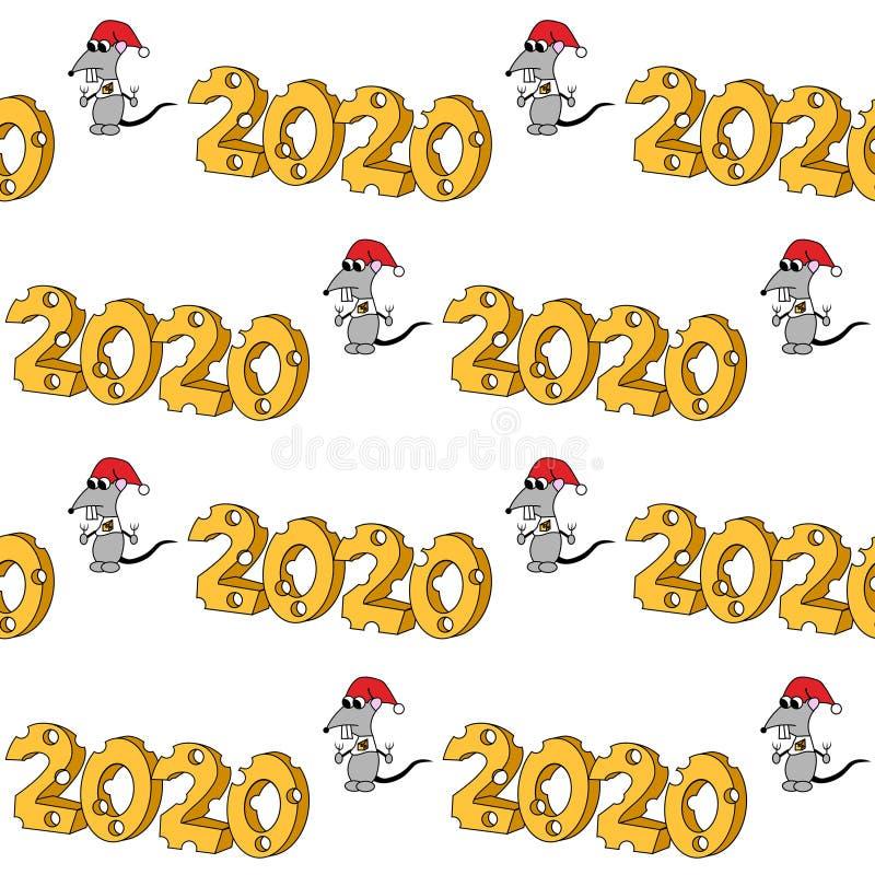 2020 en forma del queso con el car?cter hambriento A?o de la rata Modelo incons?til ilustración del vector