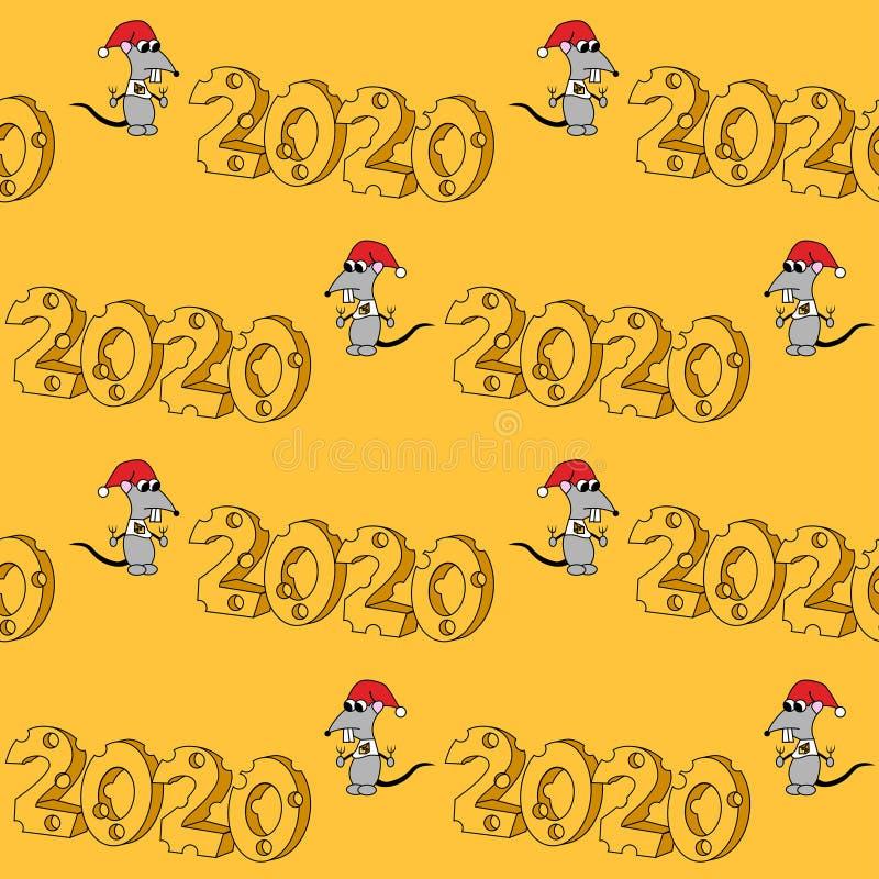2020 en forma del queso con el car?cter hambriento A?o de la rata Modelo incons?til del vector ilustración del vector