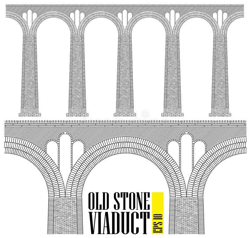En forntida hög stenviadukt Konstruerat av stenen och tegelstenar en enorm bro Även är de minsta detaljerna synliga royaltyfri illustrationer