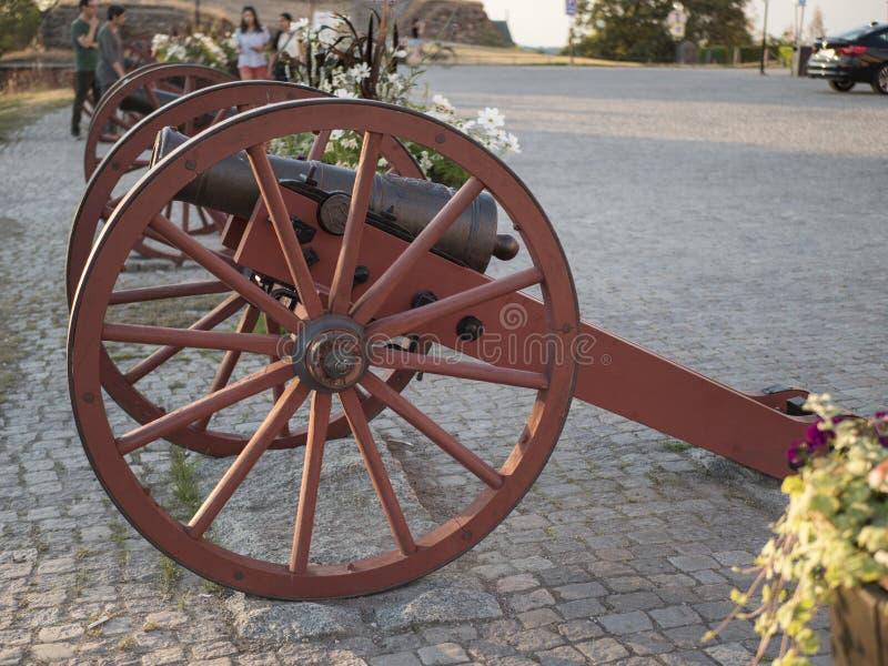 En forntida kanon framme av en slott arkivbild