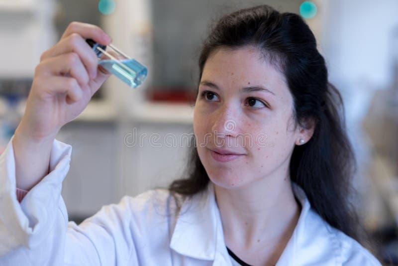 En forskare som analyserar en kemisk prövkopia arkivbilder