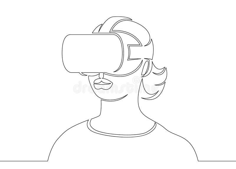En fortlöpande enkel dragen linje konstklotterflicka i en hjälmvirtuell verklighet stock illustrationer
