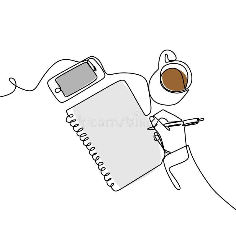 En fortlöpande linje av bilder som är skriftliga i en öppen bok bredvid en kopp kaffe och en smartphone Skriva en enkel linje tec vektor illustrationer