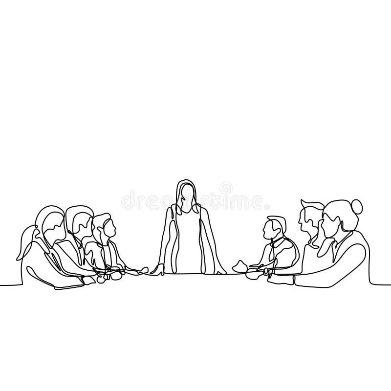 en fortlöpande linje teckning av grupp av ungdomarsom arbetarsamtal och diskussion på mötet Ger sig kvinnor som en ledare royaltyfri illustrationer