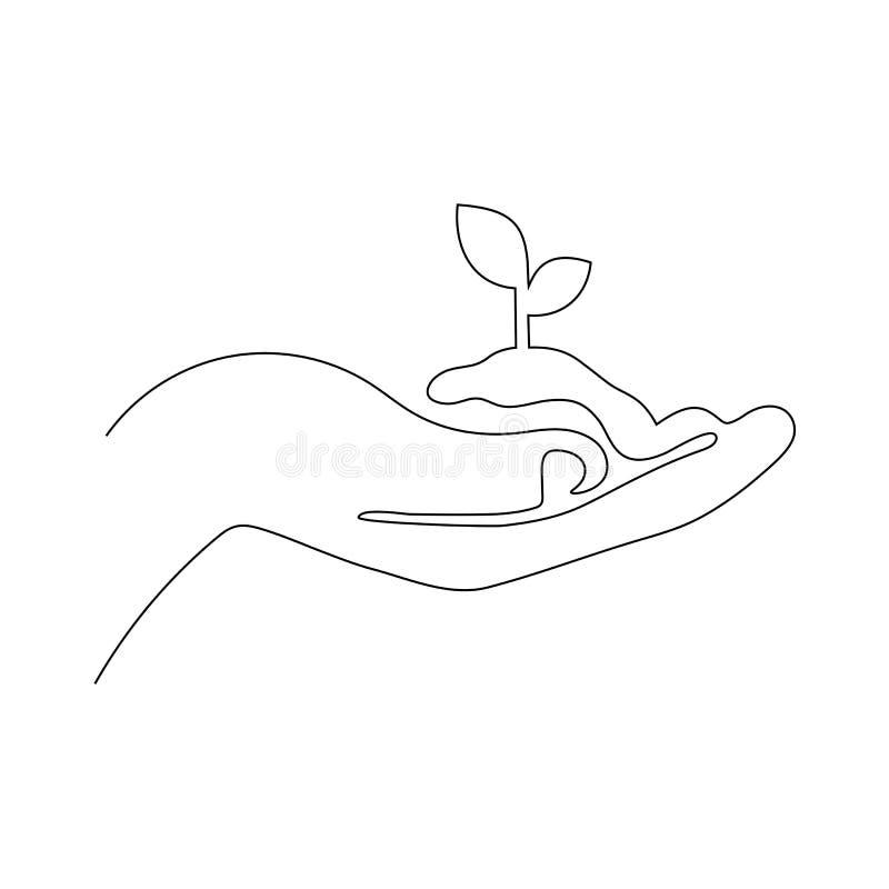 En fortlöpande linje vektorillustration av den unga växten med jordning i hand Gömma i handflatan rymma en grodd isolerad på vit stock illustrationer