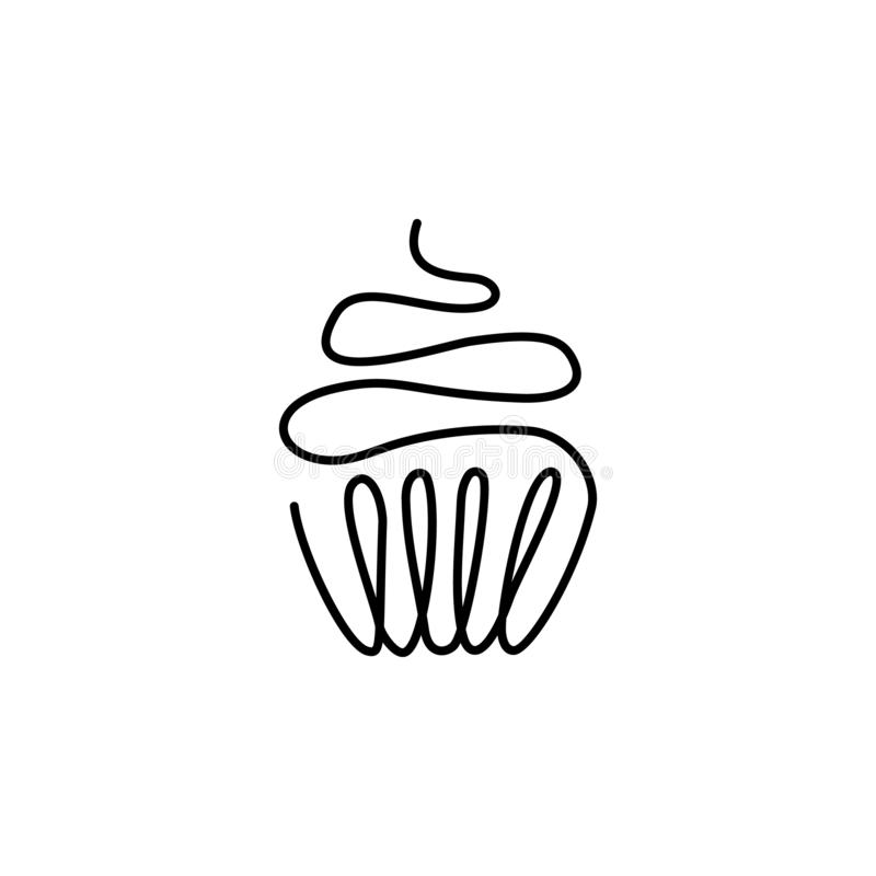 En fortlöpande utdragen linje av födelsedagkaka med en stearinljus som målas av handbildkonturn Linje konst festlig g?va stock illustrationer