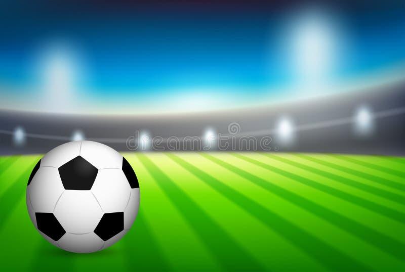En fotboll på stadion stock illustrationer