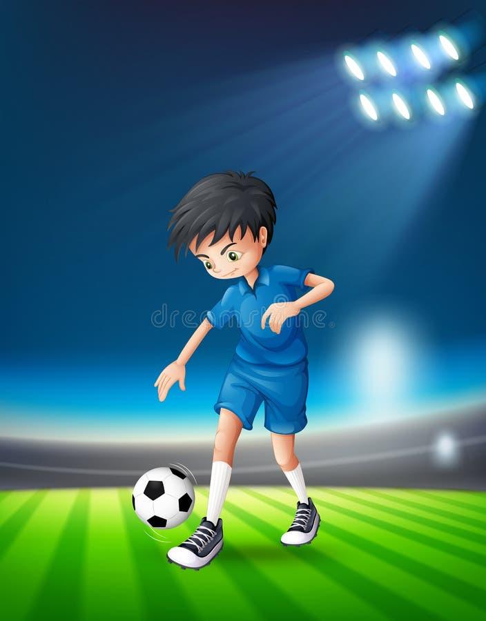 En fotbollspelare på stadion royaltyfri illustrationer