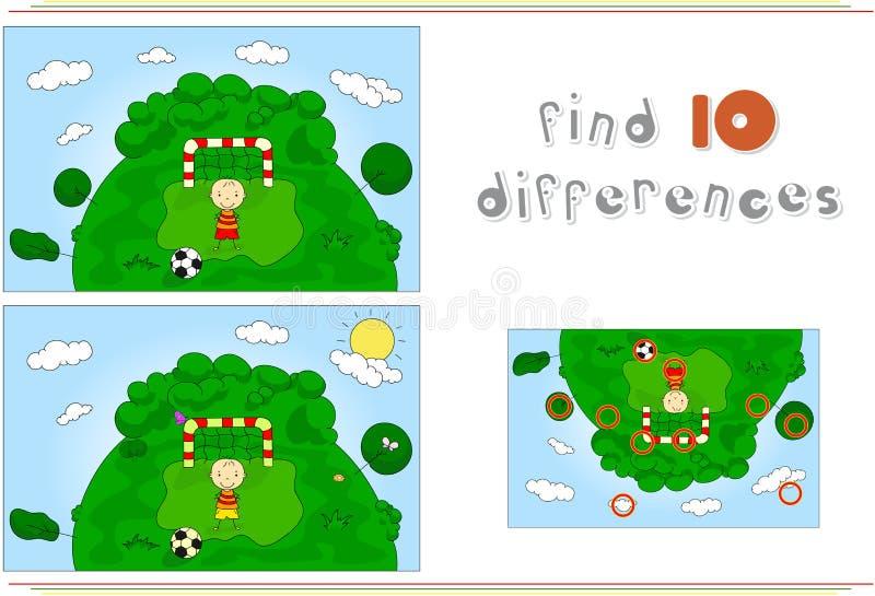 En fotbollsspelare med en fotbollboll Bildande lek för ungar: royaltyfri illustrationer