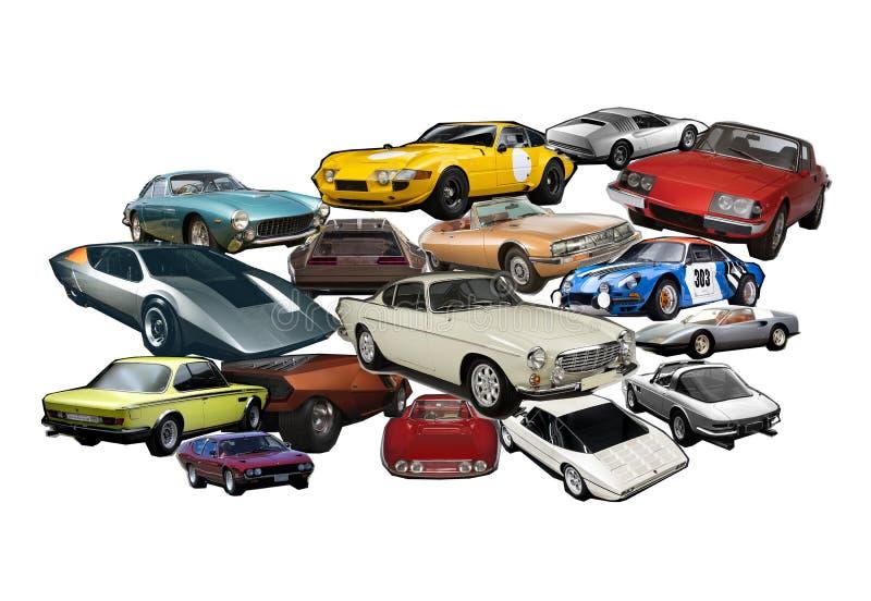 En fotocollage av klassiska och collectible bilar för tappning, royaltyfri fotografi