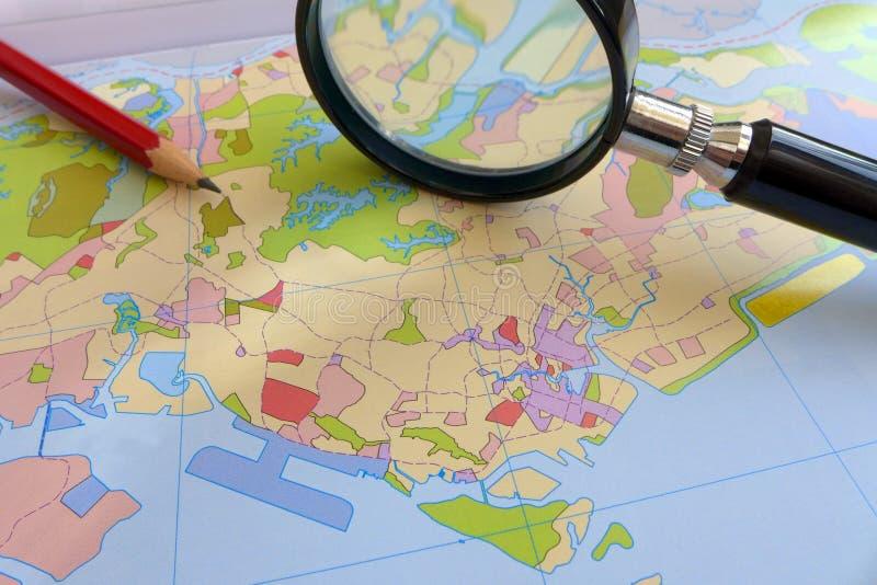 Landanvändning - planera begrepp för kust- stad royaltyfri fotografi