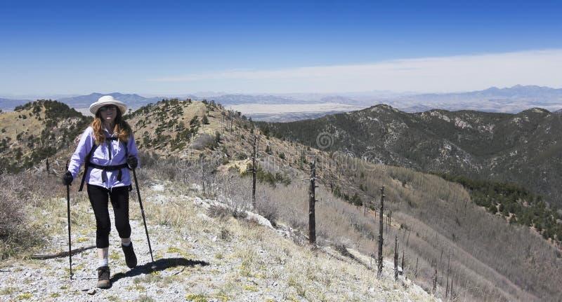 En fotvandrare gör hennes väg till toppmötet av ett berg arkivbild