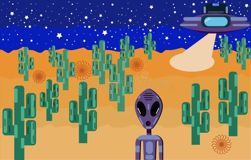 En främling med stora ögon som landas i öknen på en ufo royaltyfri illustrationer
