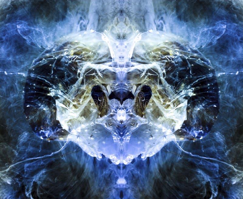 En främmande varelse som liknar RAM, i blåa signaler Färgpulver och målarfärg i vattnet En reflekterad bild av en påse under vatt royaltyfri illustrationer