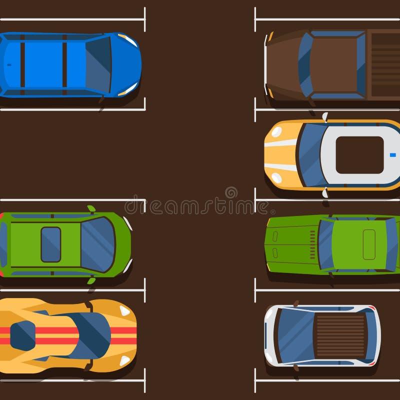 En fri illustration för ställebanervektor Begreppet för stads- trafik, bilar i parkeringszon, den utomhus- automatiskn parkerar,  stock illustrationer
