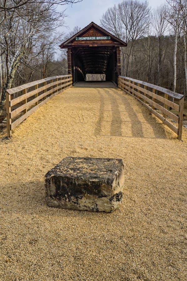 En Frontal sikt av den puckelrygg täckte bron, Virginia, USA arkivbilder