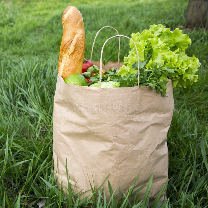 En full pappers- påse av sunda produktställningar på gräset, sidosikt Närbild royaltyfri fotografi