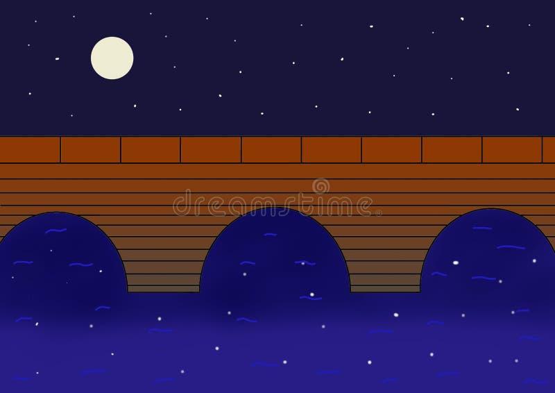 En fullmånenatt med att blinka stjärnor vektor illustrationer