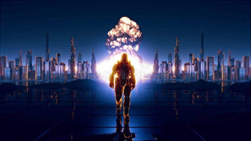 En futuristisk soldat på bakgrunden av den framtida staden arkivfoton